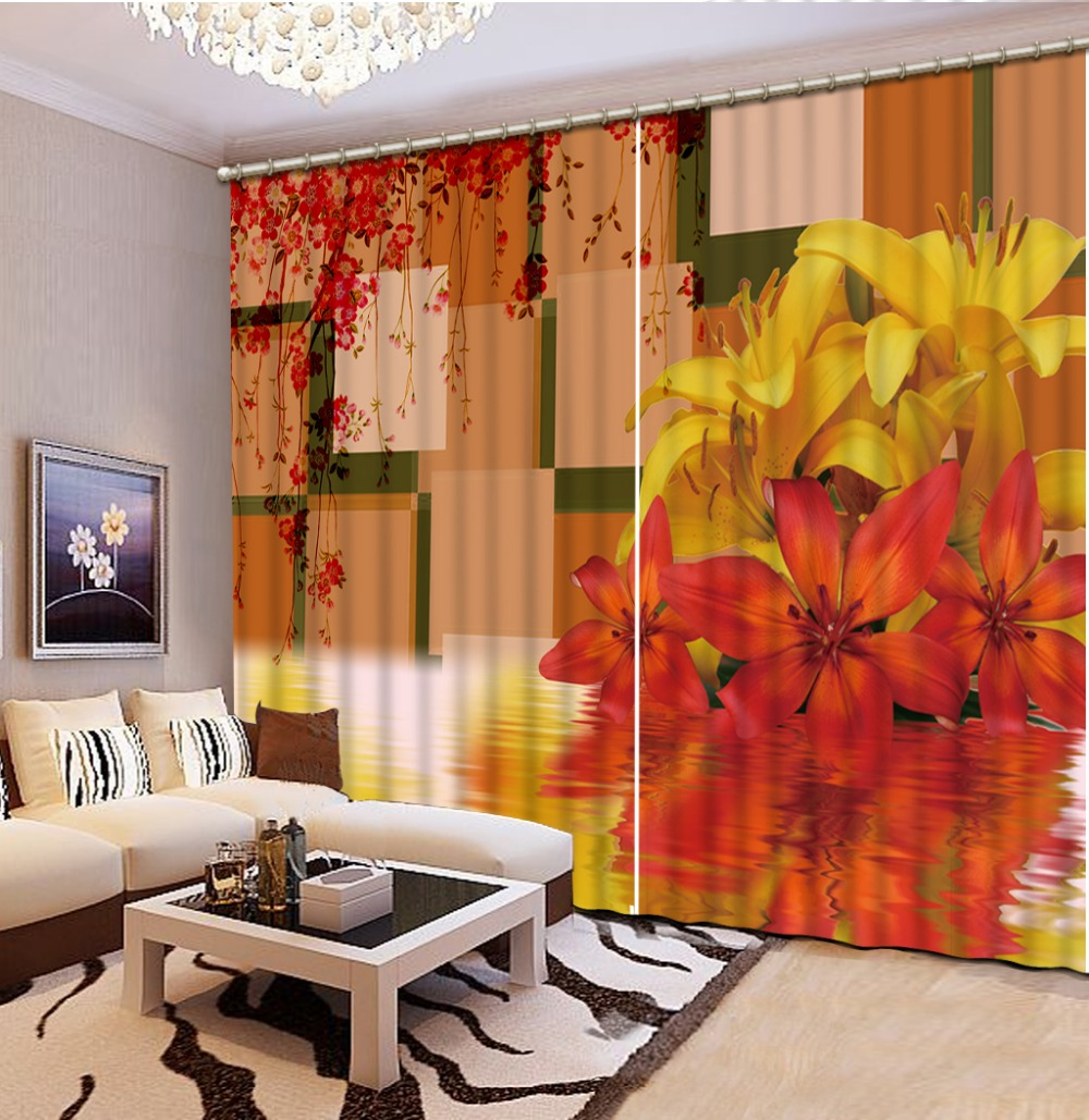 Orange curtains living room - Elegant Living Room Curtains Photo Printing Modern Kitchen Curtain For Wedding Room Living Room 3d Curtains