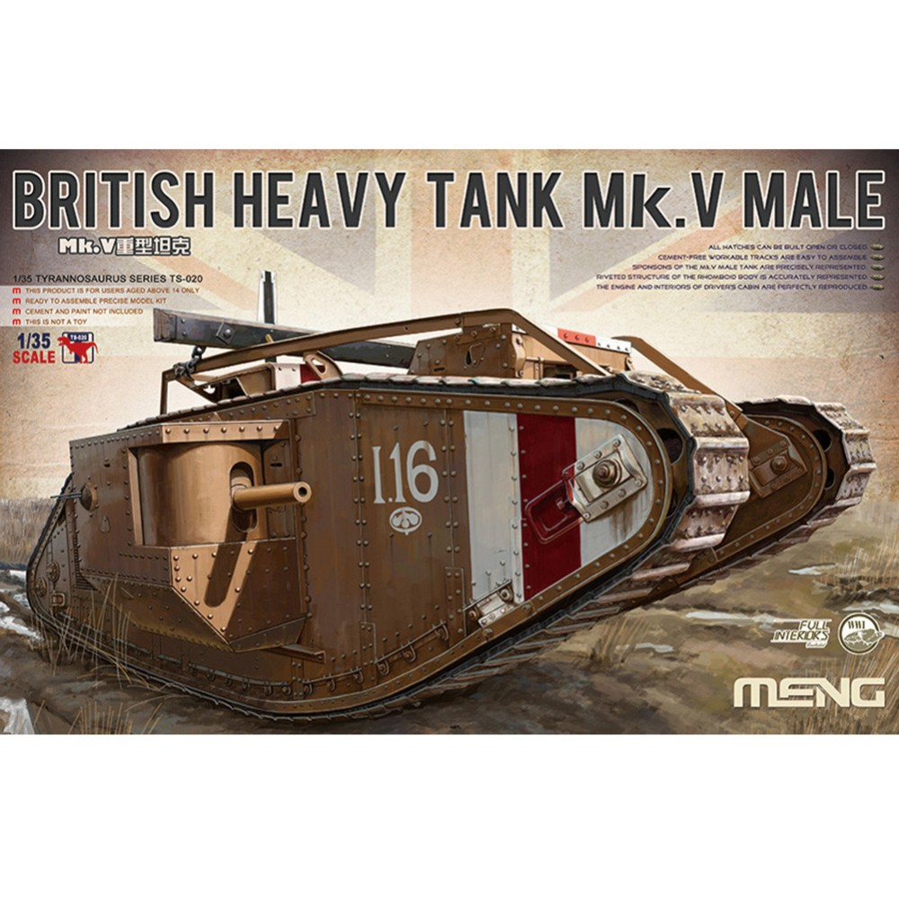 OHS Meng TS020 1/35 British Heavy Tank Mk.V Male Scale Military AFV Assembly Model Building Kits oh joseph thomas le fanu guy deverell 1 гай деверелл 1 на английском языке