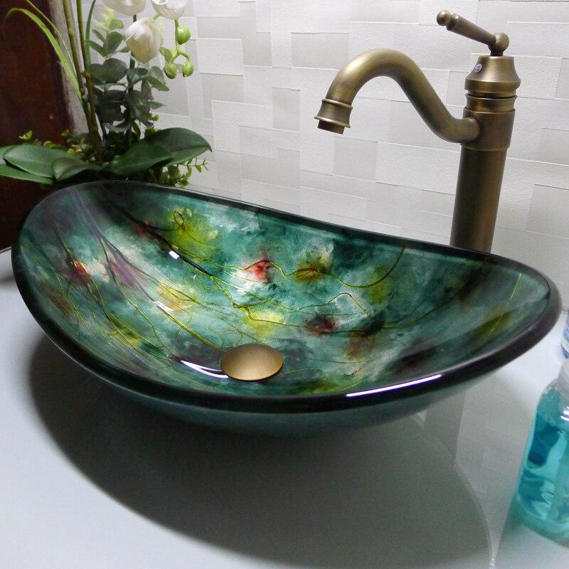 Oval de Vidro temperado Banheiro Lavatório Balcão Superior Cloakrrom Acima Balcão Da Pia Vaso de Lavagem HX017