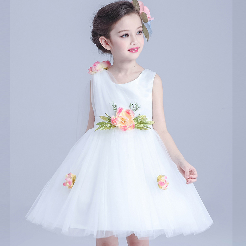 Summer Flower Girl Dress Tulle Wedding Dresses For Teen Girls Sleeveless Fluffy Kids Evening Gown Children's Girl Clothing