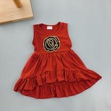 girl's burgundy shirt sleeveless dress Chest knit flower baby little girls party dresses  princess Vest dress все цены