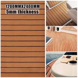 Image 2 - 120cm x 240cm x 5mm auto adhésif EVA mousse Faux teck feuille bateau Yacht synthétique teck platelage brun et noir en gros