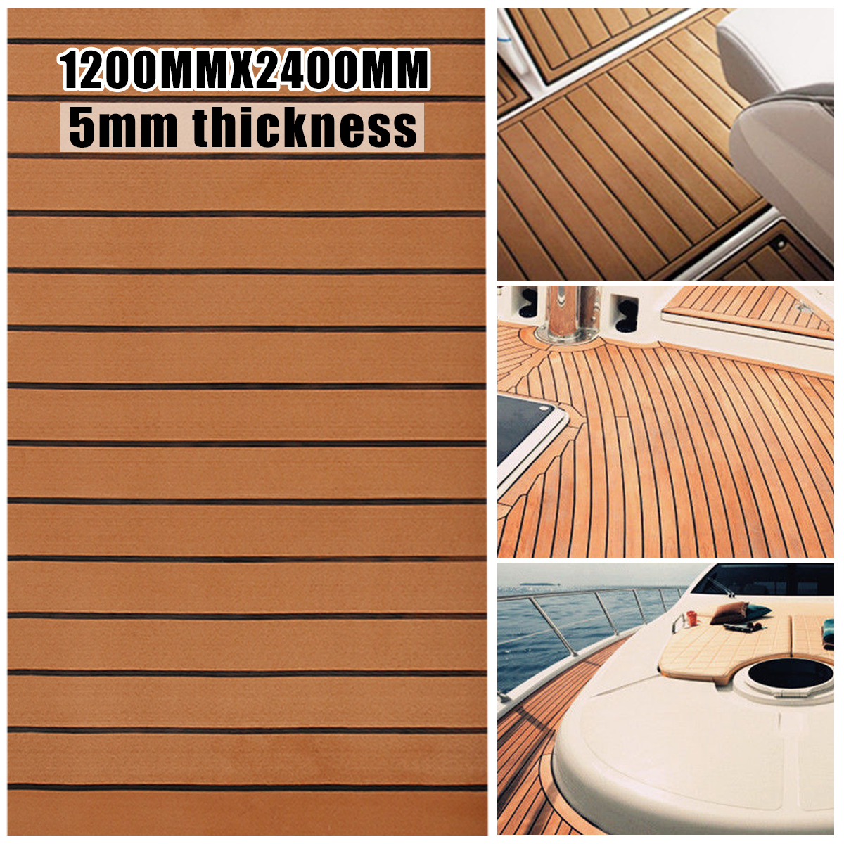 120cmx240cmx5mm Self Adhesive EVA Foam Faux Teak Sheet Boat Yacht Synthetic Teak Decking Brown And Black Wholesale