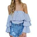 Fashion Women Blouse Ruffle Sleeve Slash Neck Shirt Strapless Off Shoulder Ruffles Striped Feminine Blouses Ladies Tops LJ8302C