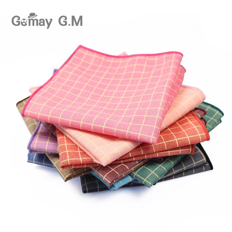 Plaid Handkerchiefs For Men Accessories 25*25cm Pocket Square New Arrival Cotton Pocket Hanky For Adult Scarves Vintage Hankies