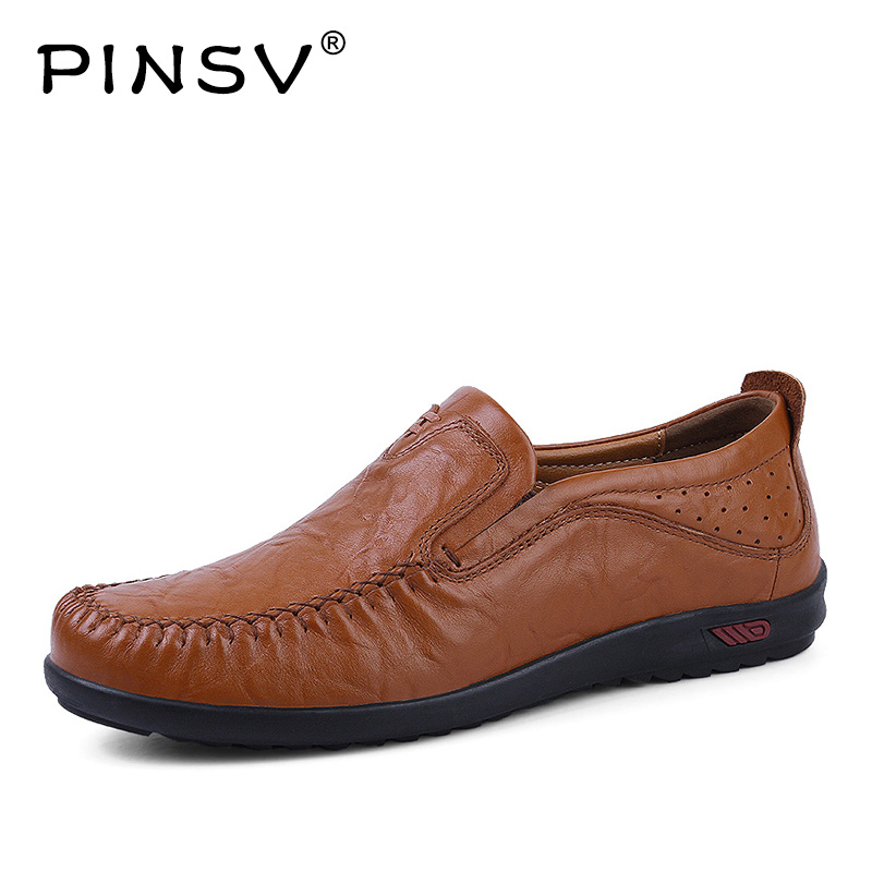 PINSV Men Genuine Leather Shoes Slip-On Flats Breathable Men Casual Leather Shoes High Quality Mens Shoes Large Sizes38-47 xizi quality genuine leather men loafers 2017 designer soft breathable casual mens leather suede flats boat shoes
