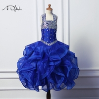 ADLN Lần Đầu Dresses for Girls Bóng Gown Floor-length Rhinestone Royal Blue Pageant Gown Customized