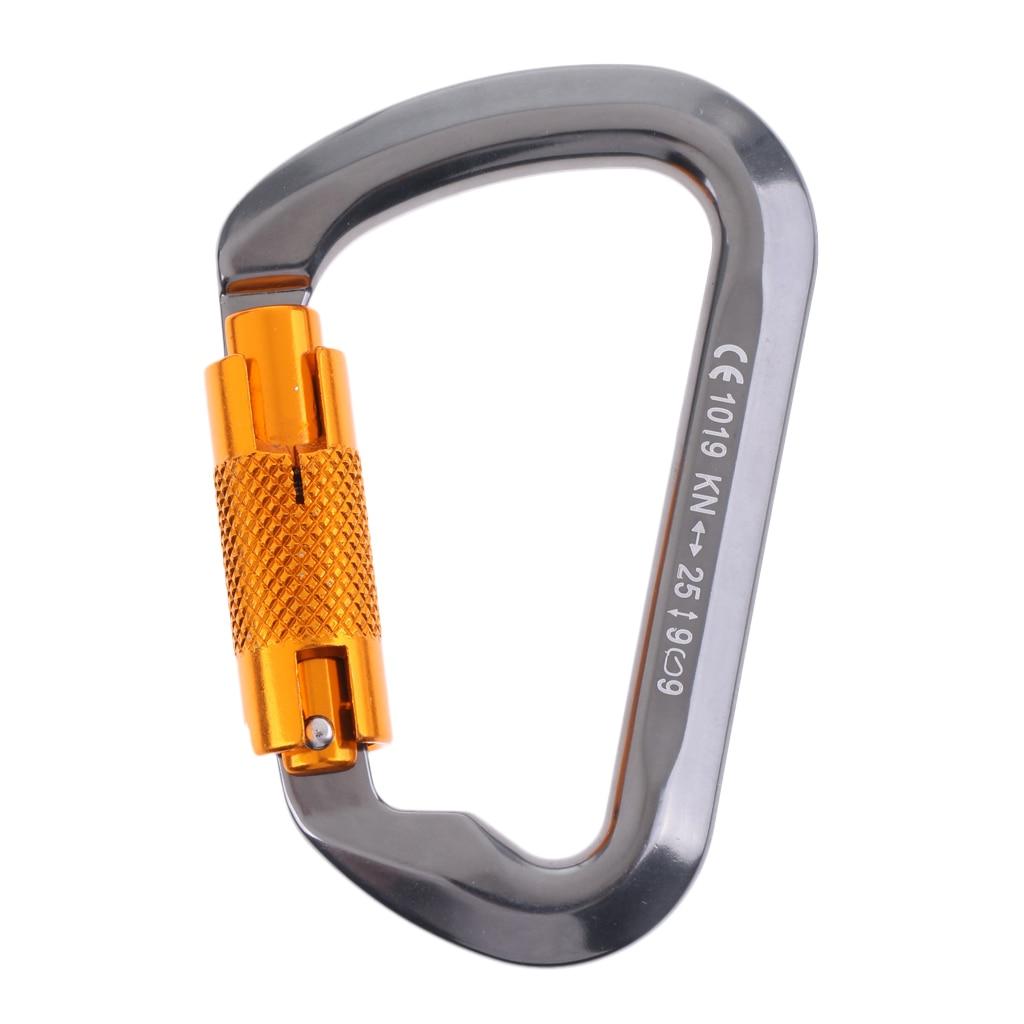 New 24kN D Shape Screwgate Carabiner Aluminum for Rescue Climbing Arborist Black