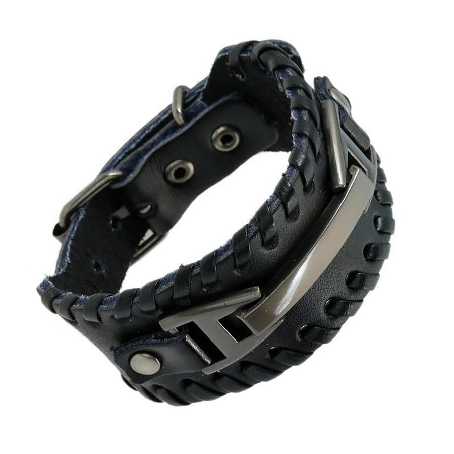 Punk Male Bracelet Wide Genuine Cowhide Leather Cuff Bracelet Wristband Wrap Titanium Plated Mens Bangles Belt Buckle Jewelry Браслет