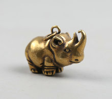 34MM/1.3 Collection Curio Rare Chinese Fengshui Small Bronze Exquisite Lovable Animal Rhinoceros Pendant Statue Statuary 23g