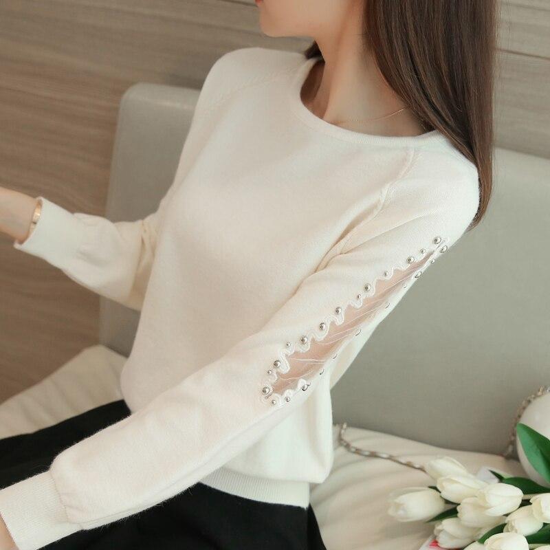 2018 primavera Unos suéteres sueltos de encaje corto femenino - Ropa de mujer