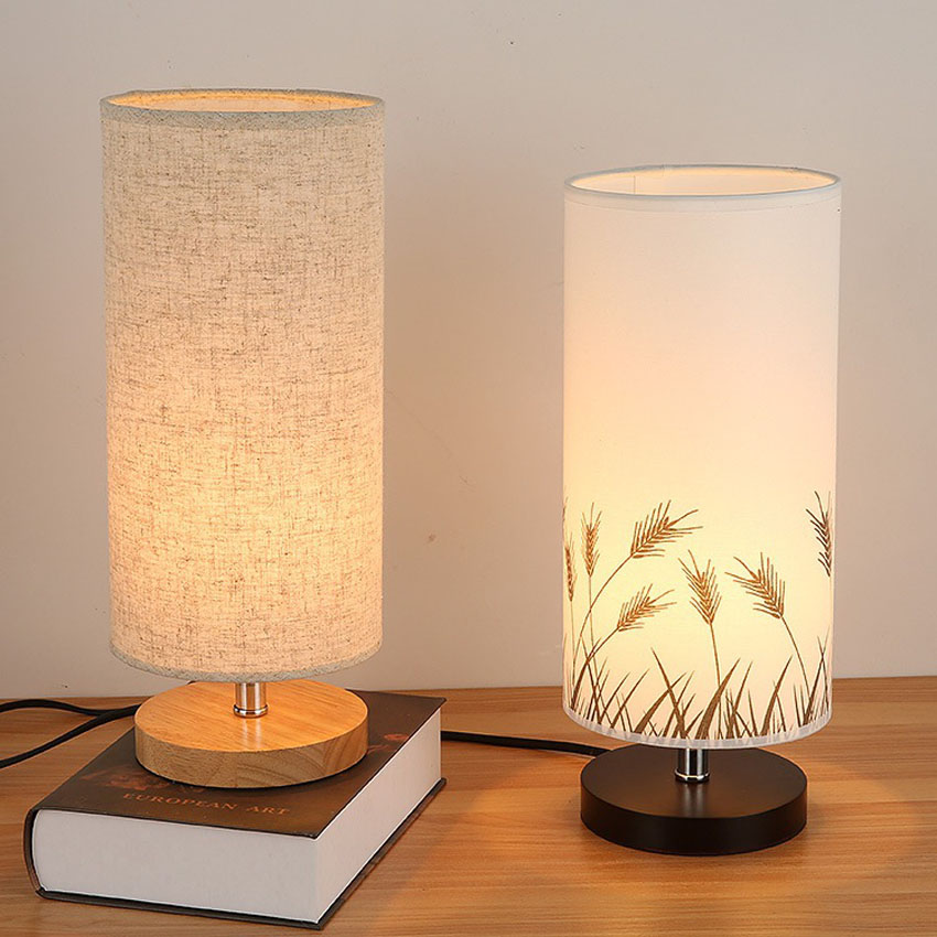 Fashion modern fabric art table lamp bedroom bedside lamp for Small table lamps for bedroom