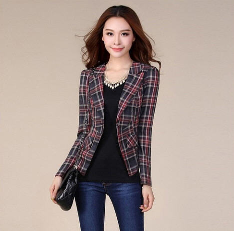 Compare Prices on Plaid Blazer Women- Online Shopping/Buy Low ...