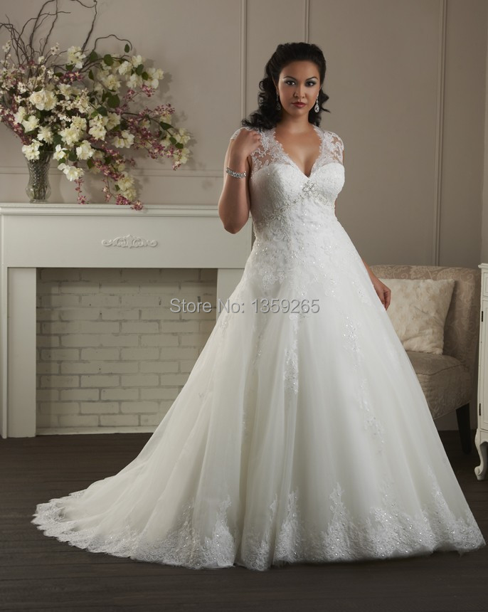 Free Shipping Plus Size Wedding Dress Women Lace Beaded Bride Gown ...