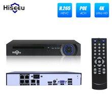 Hiseeu 4/8 канала PoE NVR для 1080 P POE IP Камера системы Камеры Скрытого видеонаблюдения H.265 48 V 802.3af видеонаблюдения NVR ONVIF DVR XMEYE APP