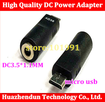 Wholesale 1000pcs DC 3.5 * 1.1MM female to MICRO  USB 5P male / flat port adapter / DC power adapter