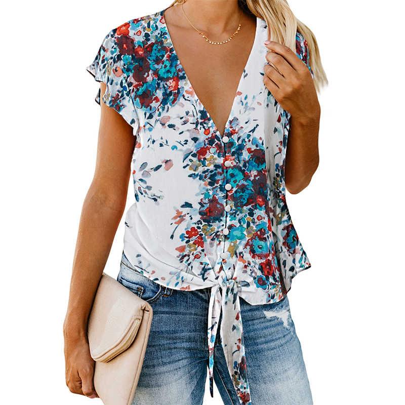 SEBOWEL yaz çiçek baskı bluz ve gömlek kadınlar yeni seksi V boyun fırfır kollu kravat düğüm düğme aşağı bluz ve tops Femme