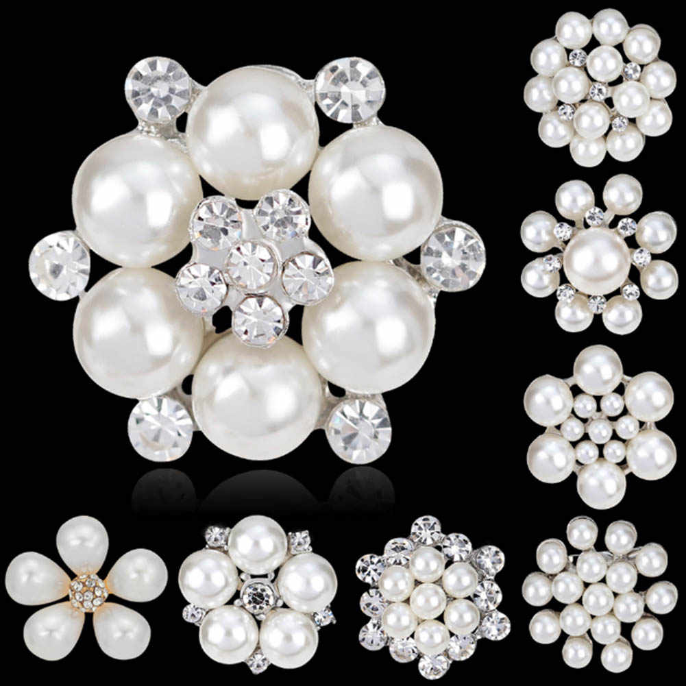 10 Styles Flower Rhinestone Imitation Pearl Brooch Pin DIY Bridal Wedding  Bouquet Decor Fashion Brooch fdfc09306549