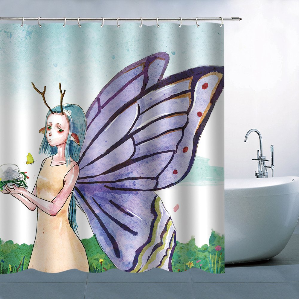 Character Shower Curtain Set Butterfly Girl With Blue Hair