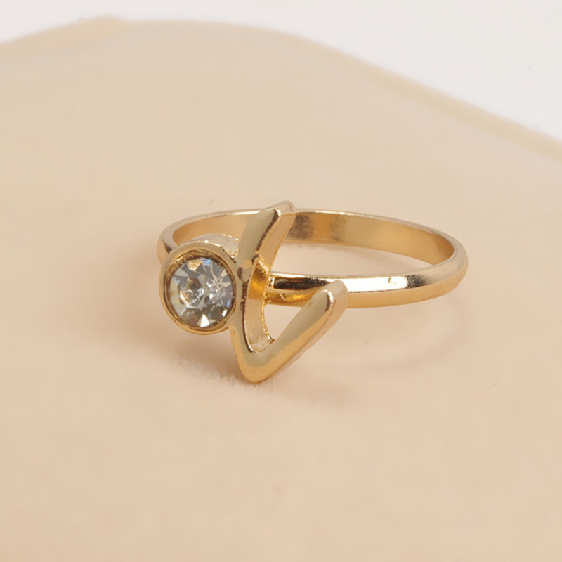 New Women s Simple Gold plated Crystal Fashion Little finger ring