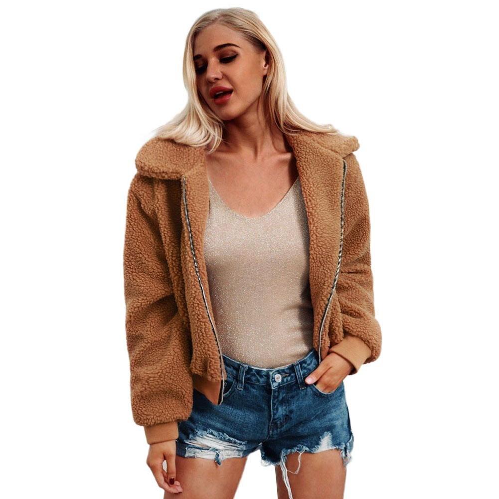 Plus Size S 3XL Women Fashion Fluffy Shaggy Faux Fur Warm Winter Coat Cardigan Bomber Jacket Lady Coats Zipper Outwear Jackets