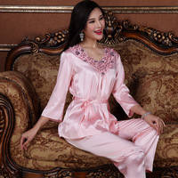 XI YUAER New Sexy Women 2018 Flower Sexy Intimate Faux Silk Sleepwear Nightwear Set Female pajamas set four colours XY025