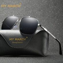 MYMARCH Aluminum Magnesium Sunglasses Men Polarized Brand Designer Square Sun Glasses For men Vintage Male Eyewear Driving UV400 afofoo brand aluminum magnesium men sunglasses hd polarized glasses men s driving sun glasses uv400 male shades eyewear for mens
