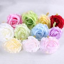 50pcs 10cm silk rose artificial flower wedding home decoration DIY wreath bed linen handicraft simulation fake