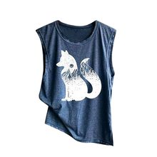 Women's Print Vest Casual Loose Top Sleeveless Tank Sport Pullover Fox Top womens tops and blouses blusas mujer de moda 2019(China)