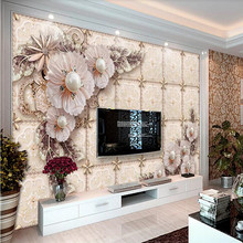 Custom 3d mural stereo jewelry flower living room TV background wall decoration painting wallpaper mural photo wallpaper цена