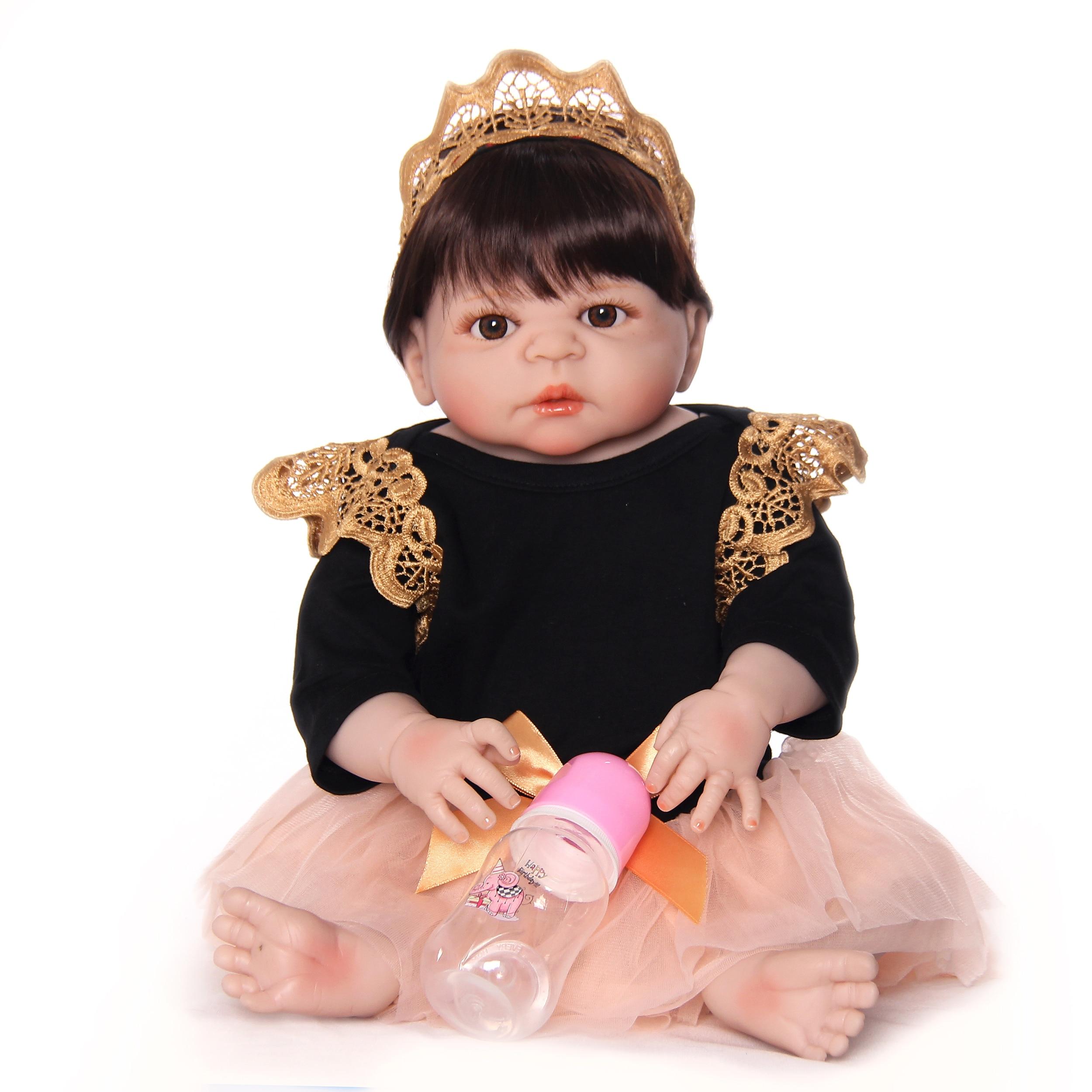 Neueste Stil Reborn Baby Puppen 23 Zoll Full Silikon Vinyl Handgemachte Neugeborenen Prinzessin Mädchen Puppe Spielzeug Für Verkauf Kinder Geburtstag geschenke-in Puppen aus Spielzeug und Hobbys bei  Gruppe 2