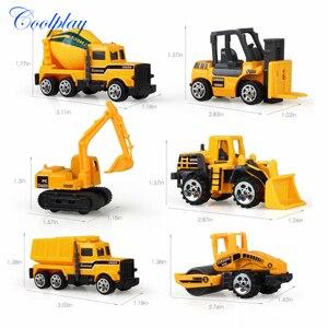 Image 3 - Coolplay mini liga diecast carro modelo de engenharia veículos de brinquedo caminhão basculante empilhadeira escavadeira modelo de carro mini presente para crianças meninos
