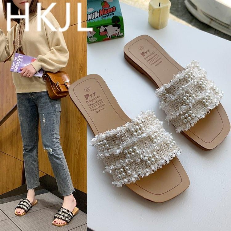 HKJL/Новинка 2019 года; Модные женские Летние вьетнамки с открытым носком; стильные тканевые Вьетнамки с жемчугом; A270