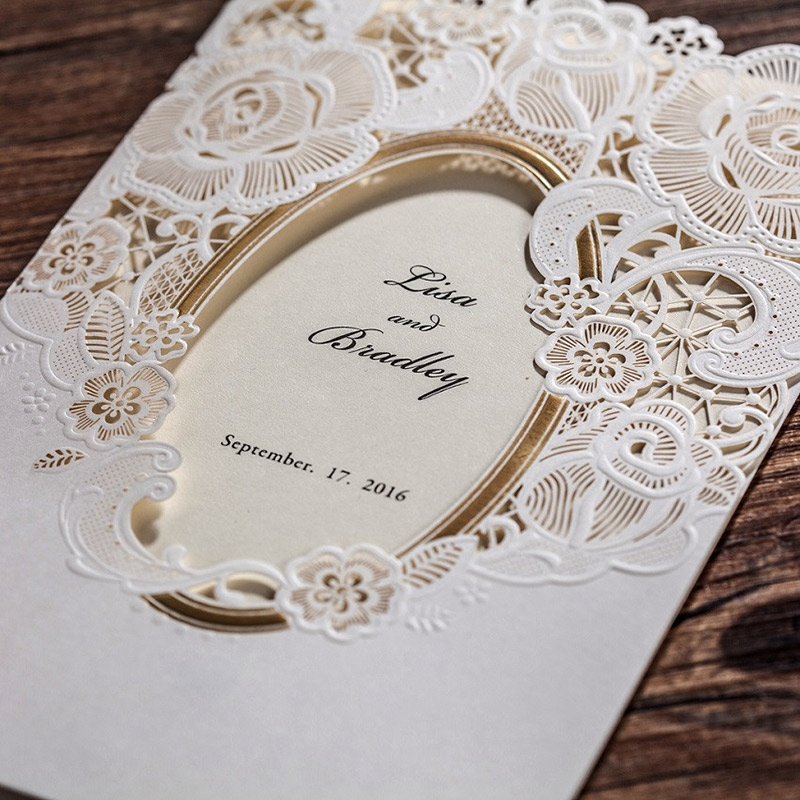 Wishmade White Mirror Frame Wedding Invitations Elegant Laser Cut ...