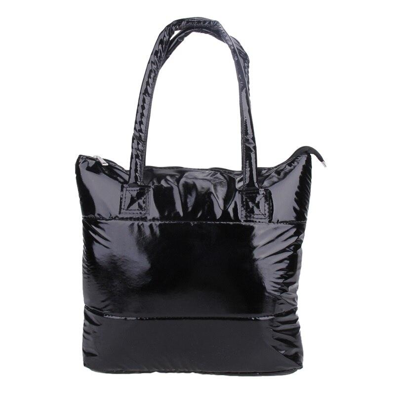 Women Winter Leather Handbag Hand Bag Lidies Single Shoulder Big Bag Tote Black Space Pad Cotton Bucket Bag Borse Da Donna