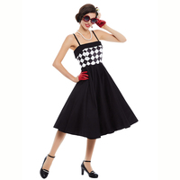 Sisjuly Women Vintage Dress Strapless Plaid Patchwork Sleeveless Black Pin Up Summer 1950s Style Sexy Elegant