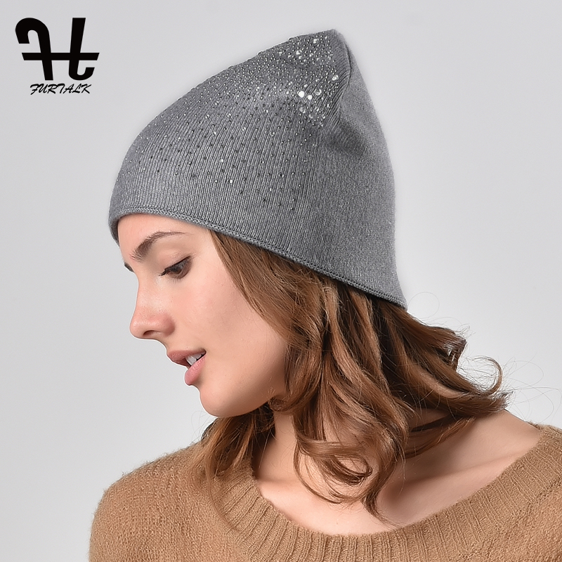 FURTALK   Beanie   Hat Women Autumn Winter Knitted Hat with Rhinestone Diamond   Skullies     Beanie   Hat for Female Grey Black Pink2019
