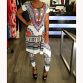 2016 new African autumn 2piece set women short sleeve long top dress and long pants sets ensemble femme vestidos tshirts dashiki