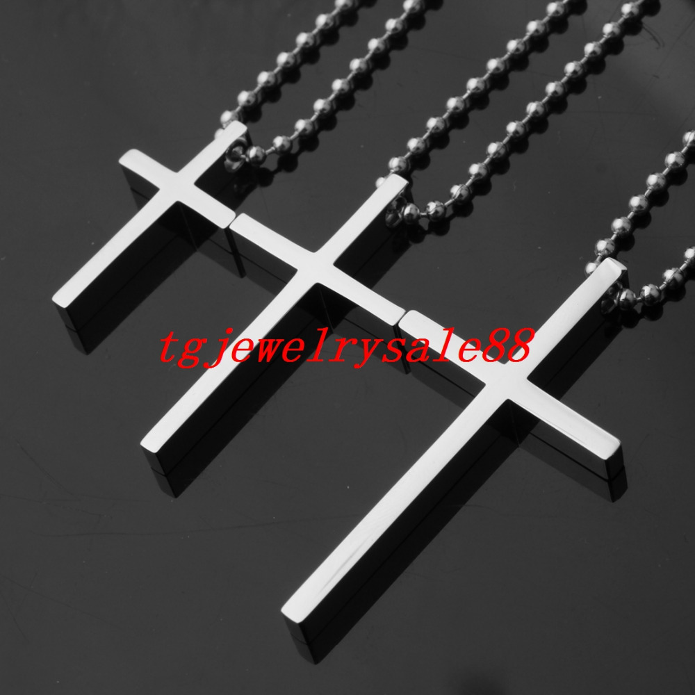 Simple Large Medium Small Size Polishing Silver Color Cross Pendant Stainless Steel Cool Mens Womens Necklace Jewelry Ball Chain pj04 7 in1 large size steel pliers silver