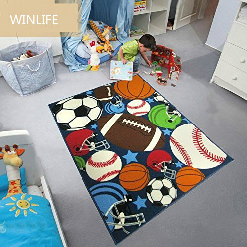 WINLIFE Balls Print Kids Rugs Cartoon Balls Boys Bedroom Carpet 3954(100*137CM)
