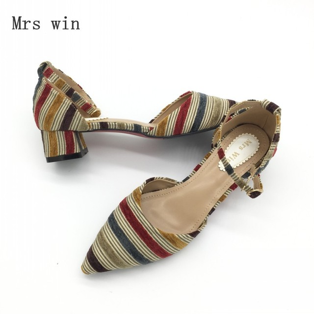 2018 Newest Shoes Women Fashion Female Pumps Stripe Shallow Square Heel Buckle Strap Summer Ladies Work Shoes Footwear Plus Size