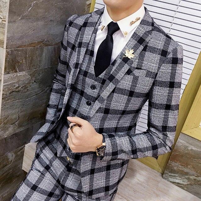 new product 3c987 2652a Jungen Herren Anzug Mantel Langarm Mode Business Bankett Männer Blazer  Jacke Größe S M L XL 2XL 3XL Mann kleid Plaid Mäntel