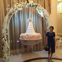 New style Diameter24(60cm) Glass Crystal Chandelier style drape suspended Swing cake stand round