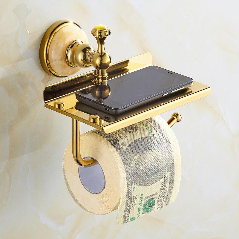 European Jade Copper Paper Towel Rack Roll Holder Gold Antique Bathroom Phone Shelf with Toilet Paper Holder Bathroom Hardware стоимость