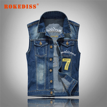 Men Letter Embroidery Male Jeans Waistcoat Hole Washed Cowboy Jeans Sleeveless  M-5XL Denim Jeans Vest G299