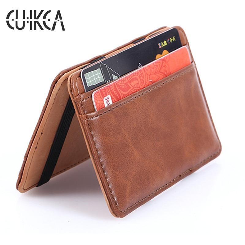 CUIKCA Korean Version Unisex Magic Wallet Money Clip Slim Wallet Purse Carteira Women Men Retro Leather Wallet Credit Card Cases
