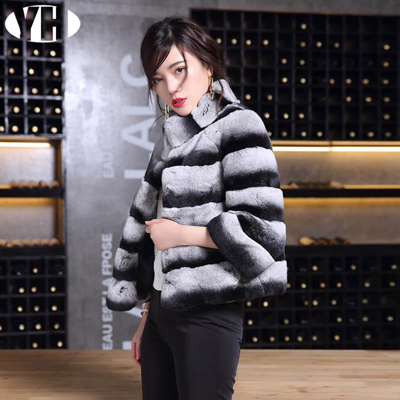 Manteau Doux Dame Blue red Réel D'hiver Rex Chaud Femmes Chinchilla Rayé Fourrure De white Black Black Lapin Black Survêtement Veste Naturel 7FZwSq