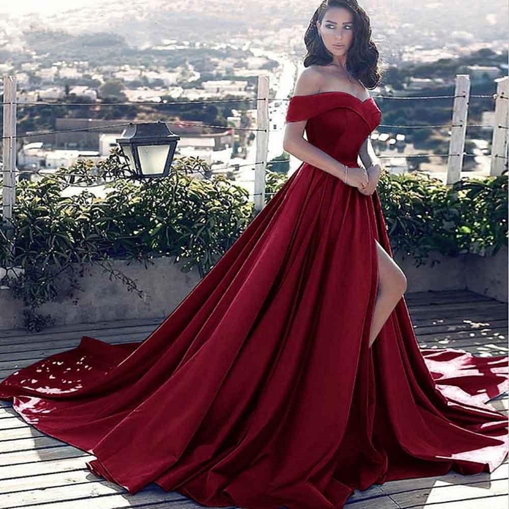 Off the devrait bal robe de soirée 2019 pour les femmes une ligne Court Train Satin robe formelle