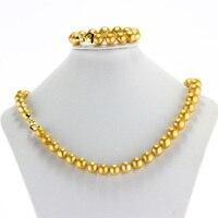 Snh 11 13 мм АА Эдисон круглый цвет золотистый жемчужное ожерелье 22 ''браслет 7.8'' натуральной жемчужные украшения комплект Бесплатная доставка