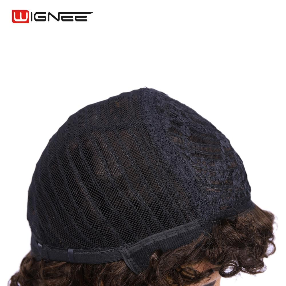 Wignee Afro Kinky Curly Short Human Hair Wigs For Black White Women High Density 150 Remy India Hair Glueless Short Human Wigs in Full Machine Wigs from Hair Extensions Wigs